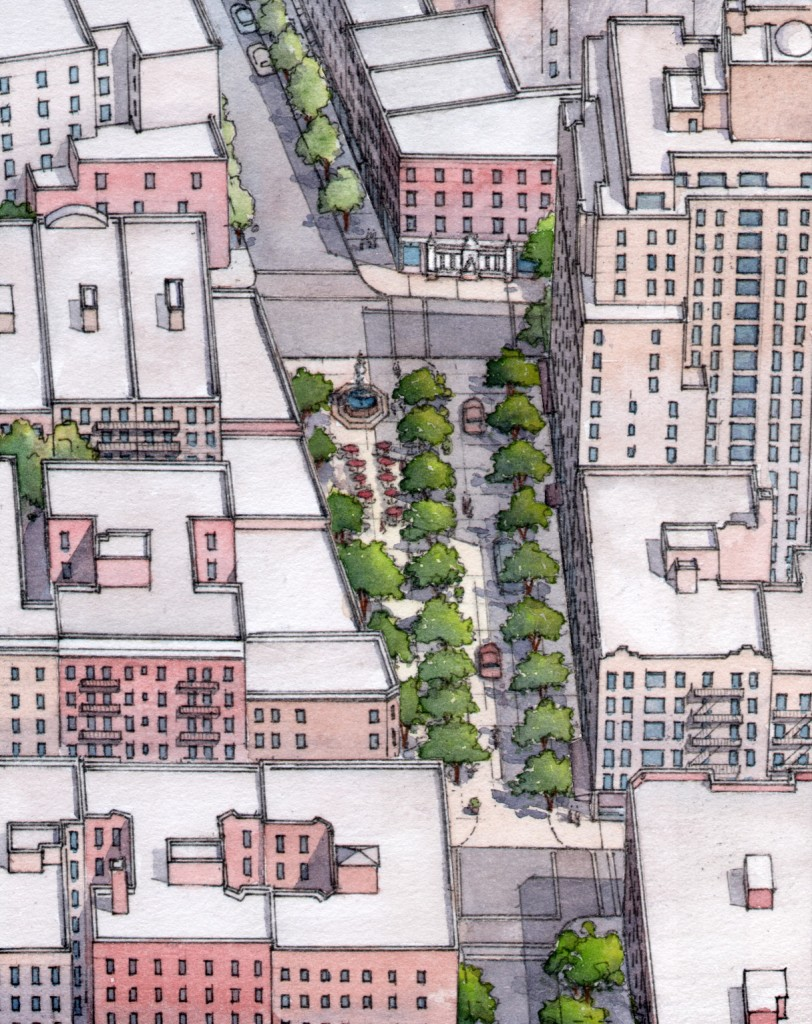 AFTER: Jane Jacobs Square, New York, New York. An aerial view looking south. © Massengale & Co LLC and Dover, Kohl & Partners, Rendering by James Dougherty.