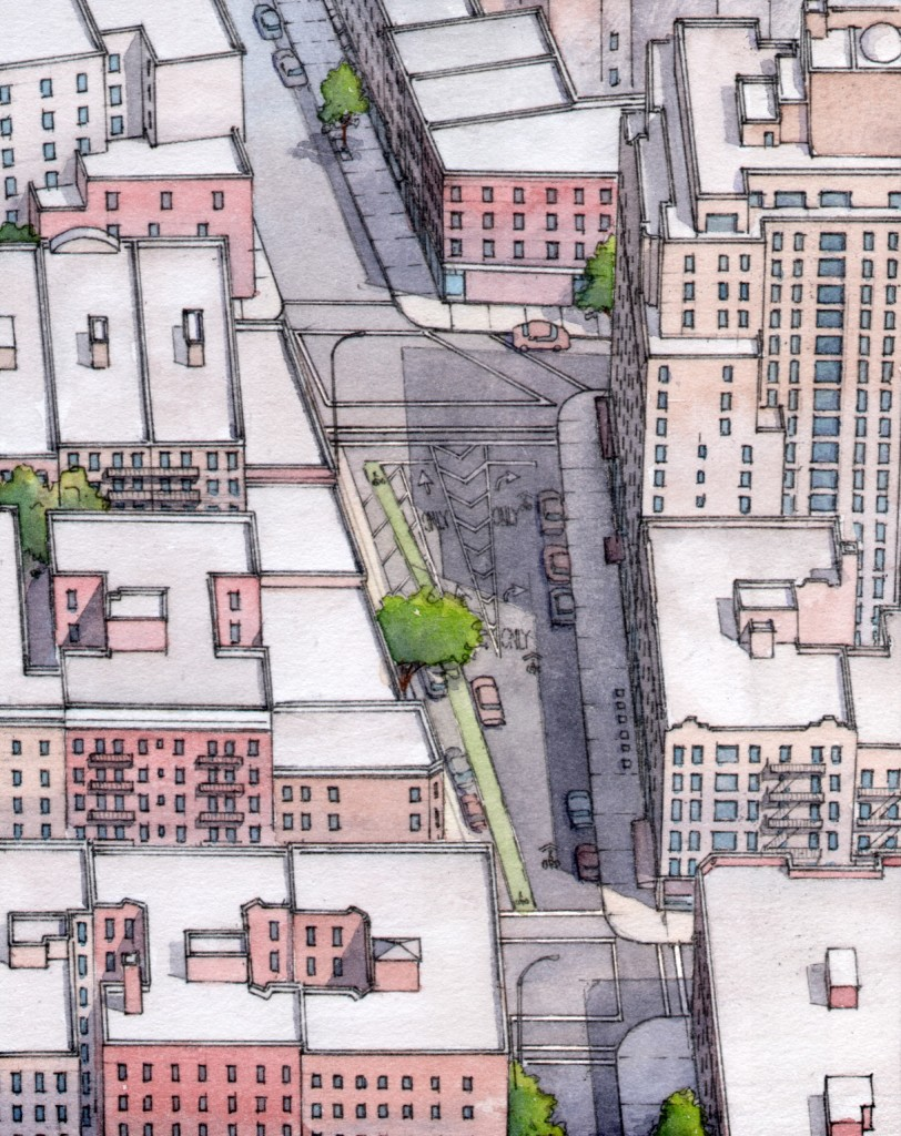 BEFORE: Jane Jacobs Square, New York, New York. An aerial view looking south. © Massengale & Co LLC and Dover, Kohl & Partners, Rendering by James Dougherty.