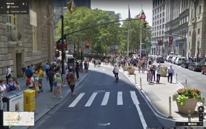 BEFORE: Whitehall Street, looking at the intersection with Broadway, looking south towards Bowling Green.
