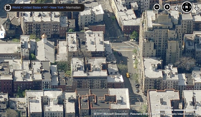 "BEFORE: An aerial view of ""Jane Jacobs Square."""