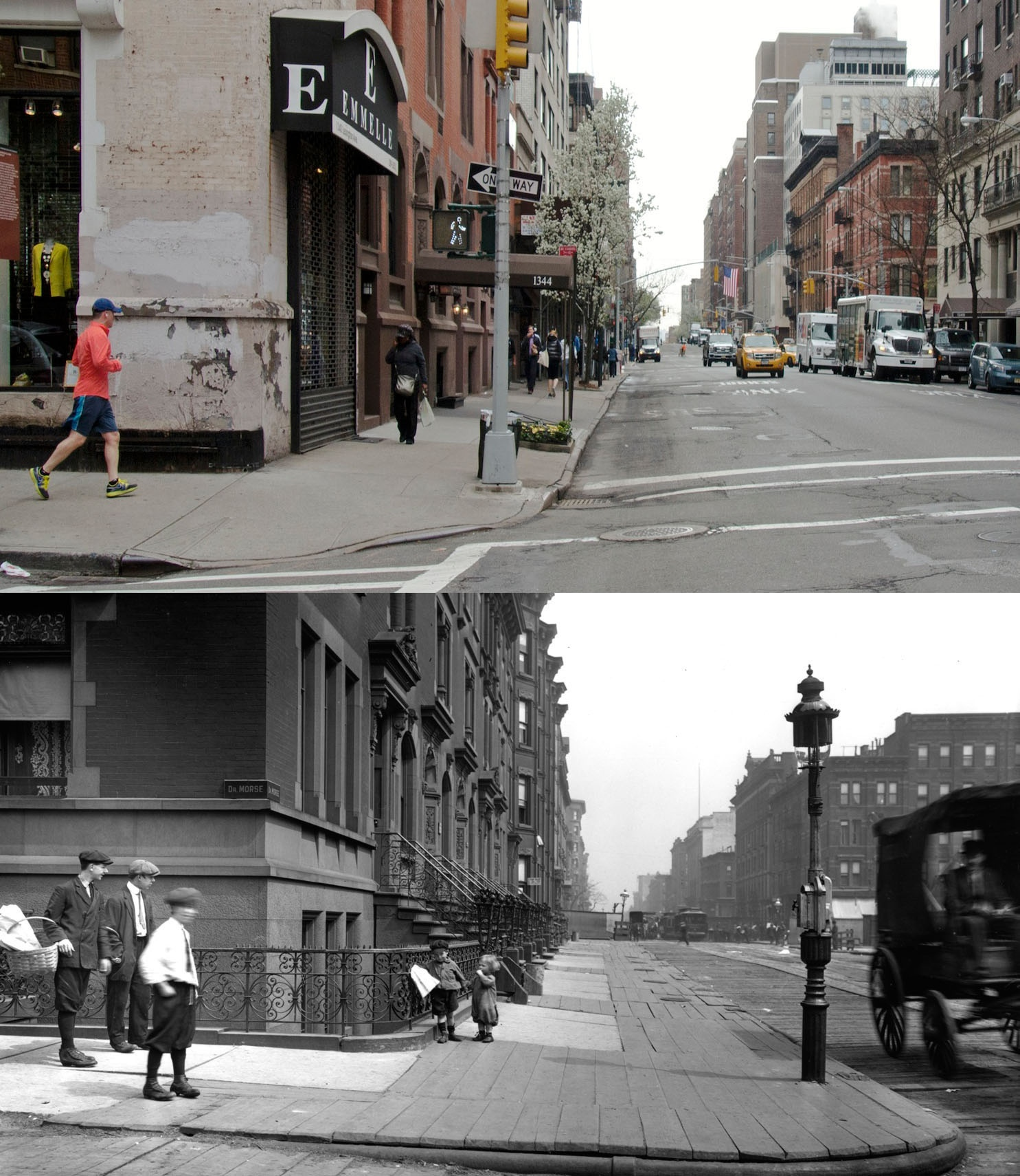 Lexington Avenue, New York, New York. Looking north from 89th Street in 1913 and 2013.