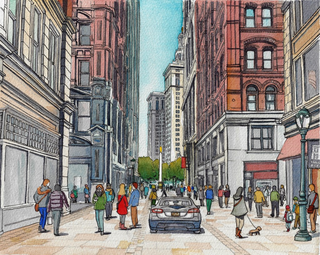 AFTER: Beekman Street redesigned as a Slow Street. © 2017 Massengale & Co LLC, Rendering by Gabriele Stroik Johnson.