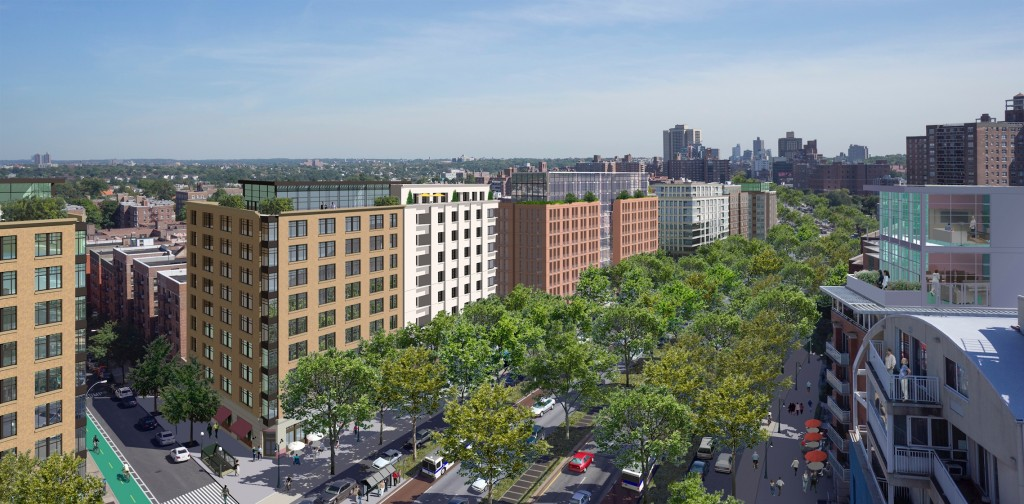 AFTER: Queens Boulevard, Queens, New York. Aerial view looking south from 68th Avenue. © 2014 Massengale & Co LLC and UrbanAdvantage, for Transportation Alternatives.
