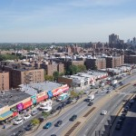 BEFORE: Queens Boulevard, Queens, New York. Aerial view looking south from 68th Avenue. © 2014 Massengale & Col LLC and TransportationAlternatives.