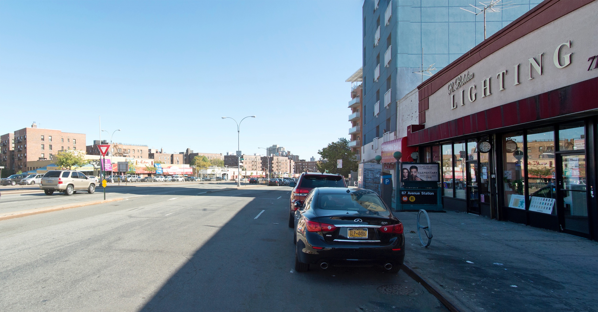BEFORE: Queens Boulevard, Queens, New York. Looking south from between 67th Drive and 68th Avenue. © 2014 Massengale & Co LLC and Transportation Alternatives.