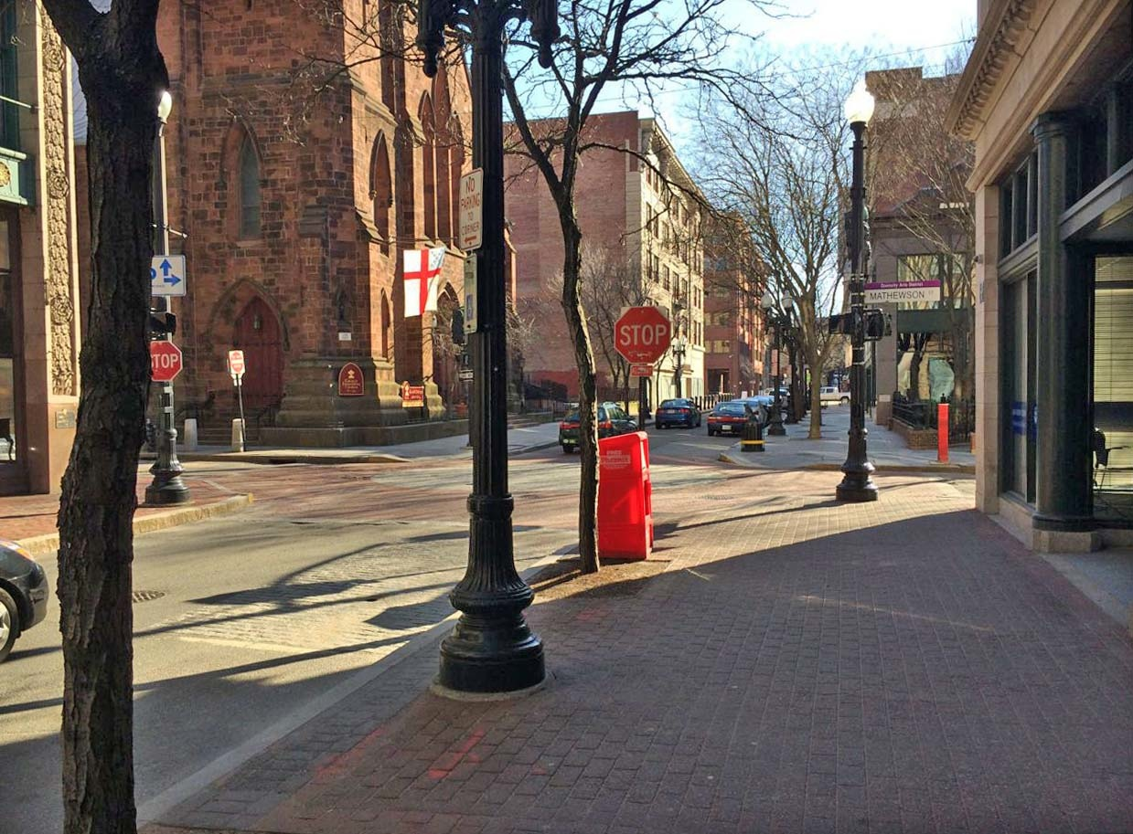 Westminster Street, Providence, Rhode Island on a late spring day.